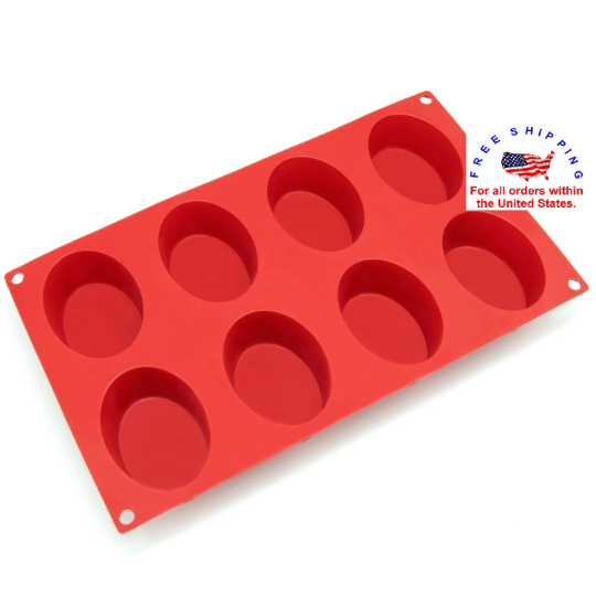Brand New 8-Cavity Oval Silicone Mold for Soap and Resin Mold FREE SHIPPING
