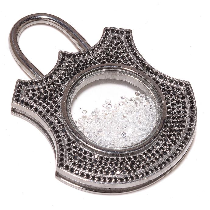 925 Sterling Silver White Topaz Black Spinel Lock Disc Pave Pendant