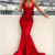 Red mermaid long prom dress, red evening dress