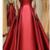 A-line Evening Dress With Beading  Brilliant Satin High Collar Floor-length