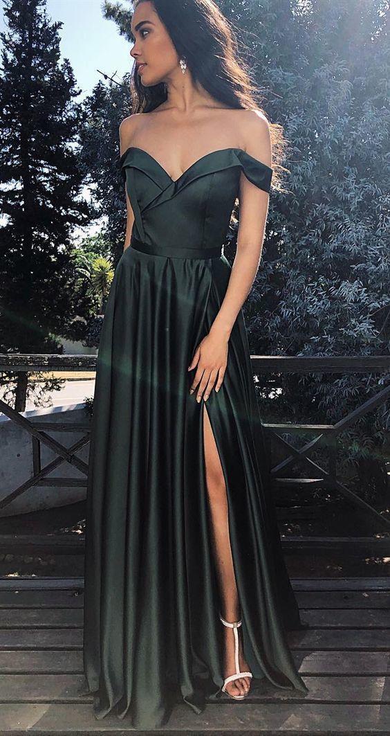 formal long prom dresses, cheap dark green senior prom dresses, off the shoulder