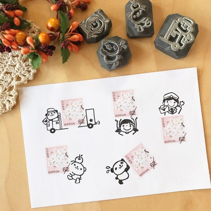Acha (Asako Kasai) rubber stamps with wooden handle - Mail theme - perfect for