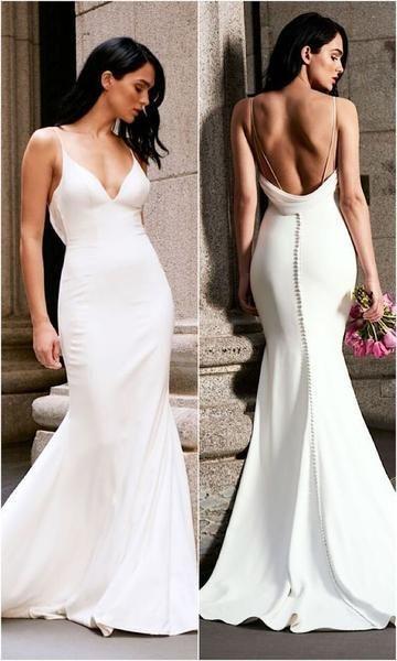 Mermaid Wedding Dress Long White Backless Sweep Train Sleeveless Deep V-neck