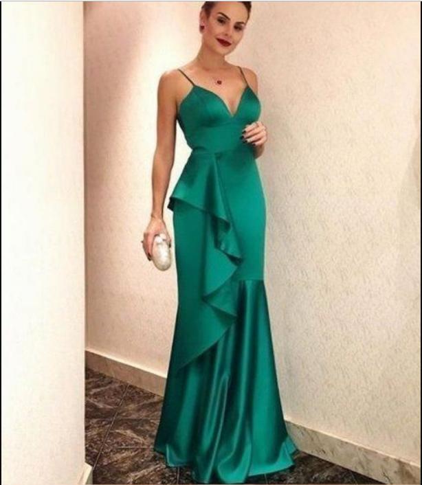 Elegant Long Mermaid Green Soft Satin Prom Dresses Spaghetti Straps Backless