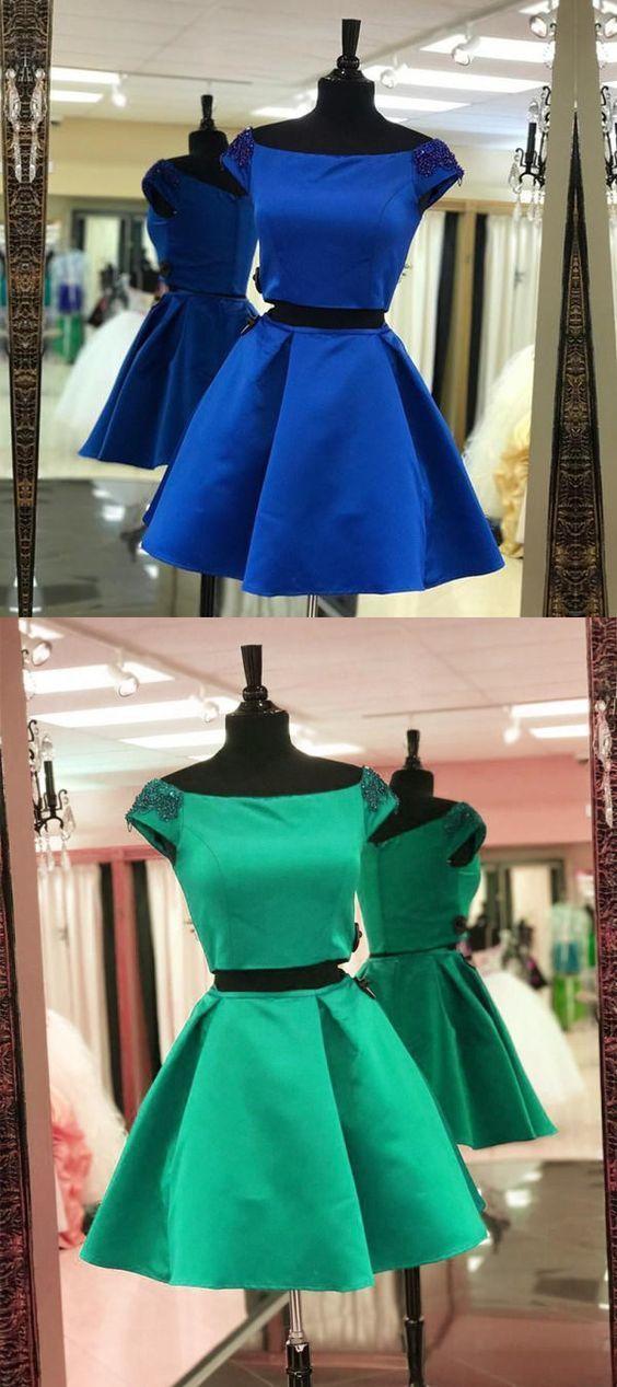 Cute Short Two Piece Prom Dress, Satin Party Dress, Mini Homecoming Dress