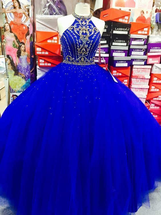 6e7f3b34ddc Royal Blue Halter Tulle Quinceanera by fancygirldress on Zibbet