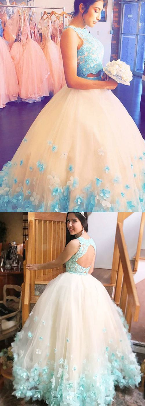 Two Piece Ball Gown Jewel Sleeveless Turquoise Tulle Quinceanera Dress with