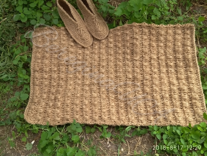 Hemp rectangular rug,Natural brown Fiber Rug for home,Area rug runner,Massage