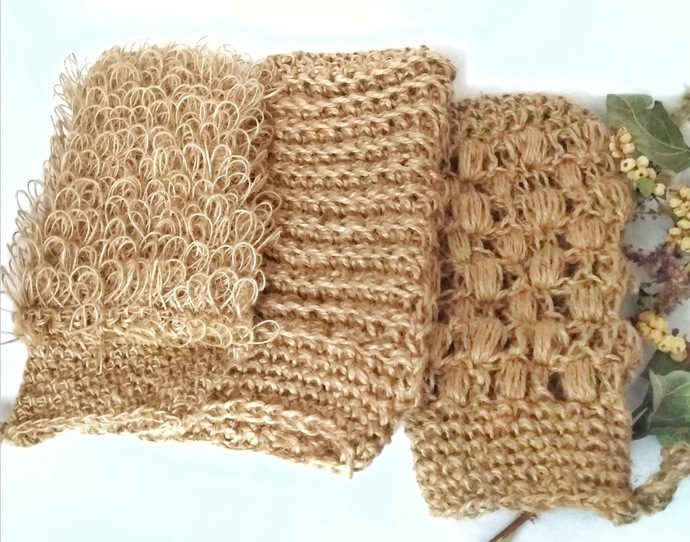Natural hemp Washcloth Set of three sponges Exfoliating skin massage/bath