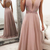 Gorgeous V Neck Blush Pink Long Prom Dress with Open Back