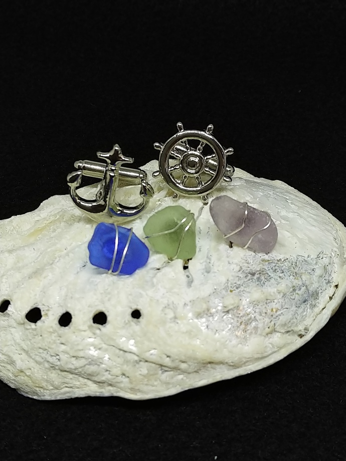 Set of 3 Pastel Sea Glass Tie Tacks and Stainless Steel Seafaring Cufflinks