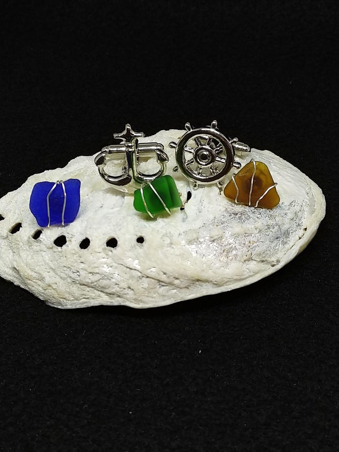 Set of 3 Bright and Bold Sea Glass Tie Tacks and Stainless Steel Seafaring
