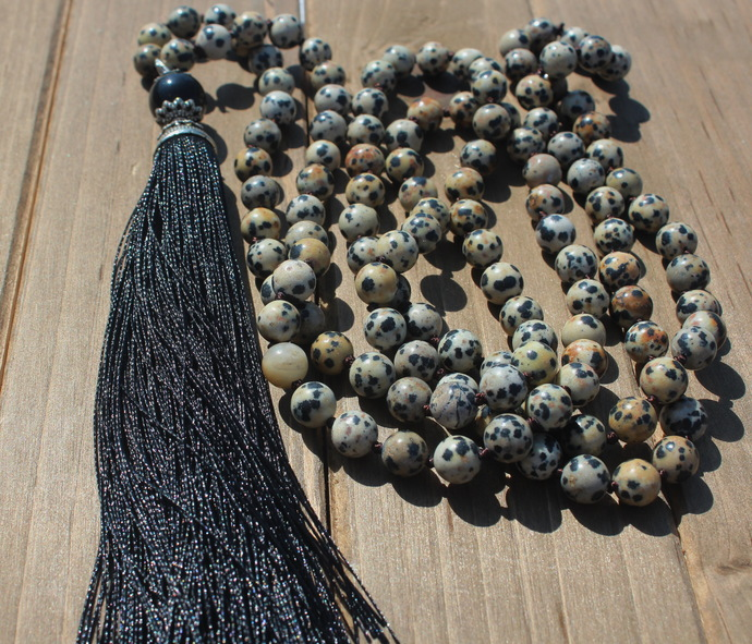 Long Double Wrap Dalmation Stone Beaded Necklace with Pendant Tassel Bohemian
