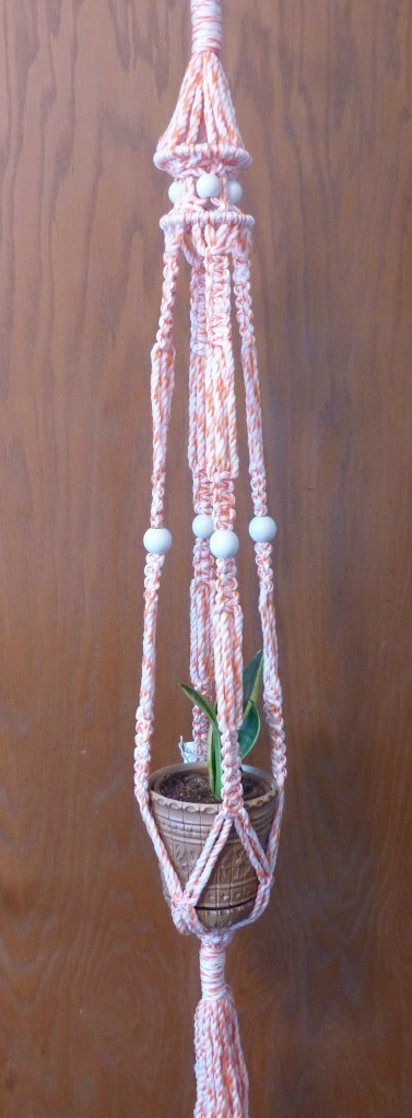 macramé plant hanger, plant hanger, macramé hanger, home décor, tangerine and