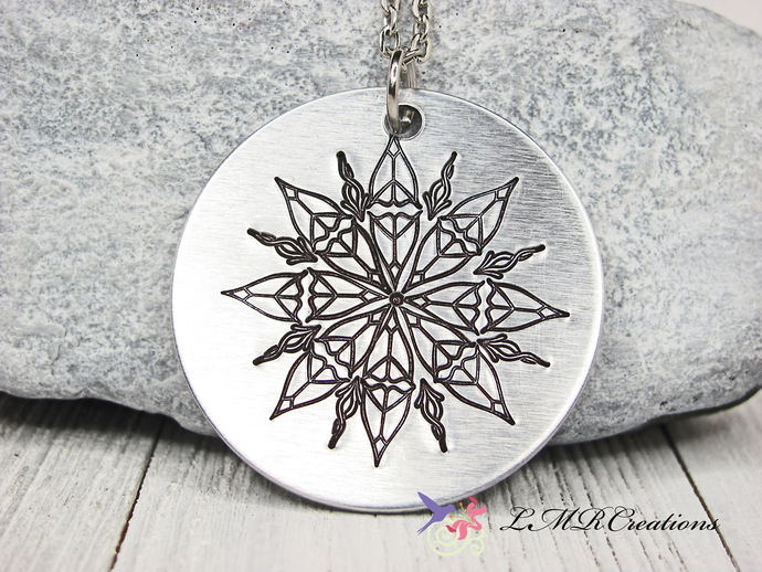 Hand Stamped Peace Sign Mandala Necklace, Star Of Peace Mandala Pendant, Stamped