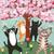 Cats Celebration of Spring Original Cat Folk Art Painting