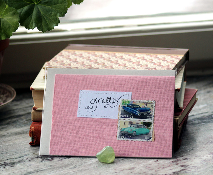 Grattis! Gratulationskort - Pale pink Congratulations card in Swedish with old