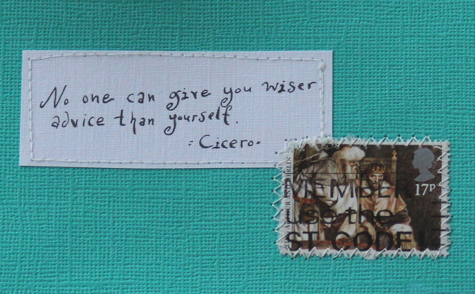 No one can give you wiser advice than yourself - Cicero - Dark turqoise card