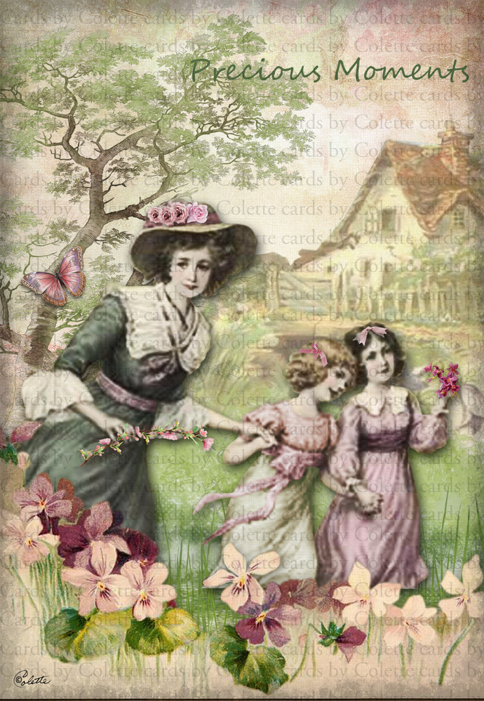 Mother and Children Precious Moments Digital Collage Greeting Card2243
