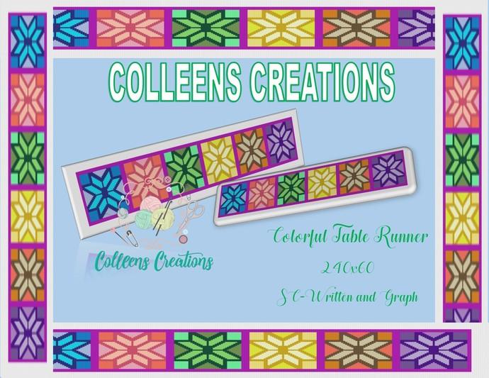 Colorful Table Runner Crochet and Written Design