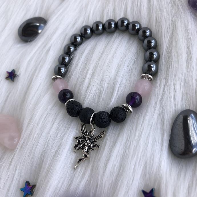 Hematite Rose Quartz and Amethyst beaded aromatherapy bracelet with fairy charm