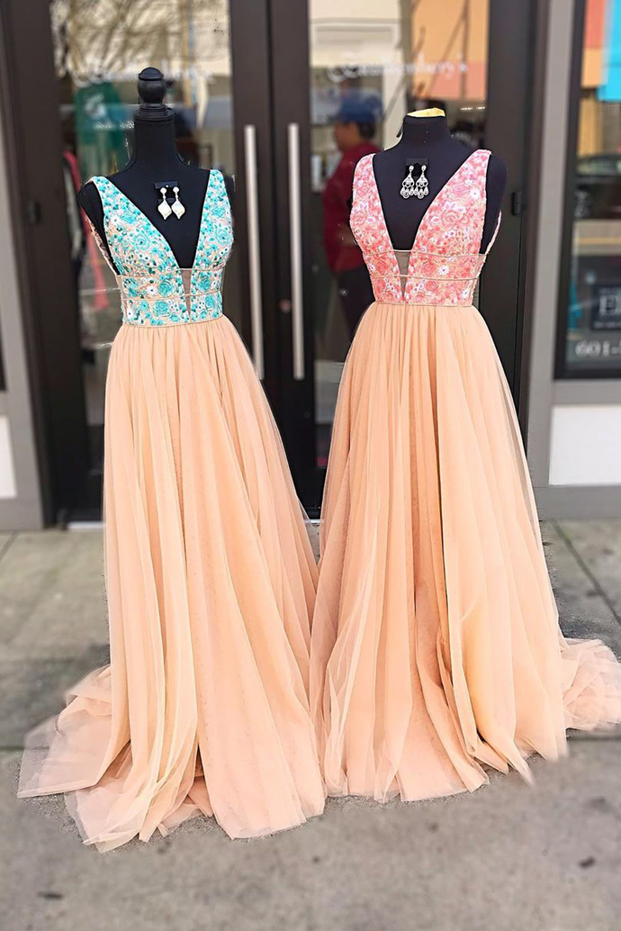 Plunging Neck Tulle Floral Long Prom Dress