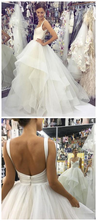 Spaghetti Strap Simple Elegant Long Wedding Prom Dress