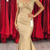 Sexy Off Shoulder Champagne Mermaid Prom Dresses Simple Cheap Pleats Floor