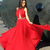 Red Long Chiffon African Arabic Evening Dresses Backless Beaded Halter Neck Sexy