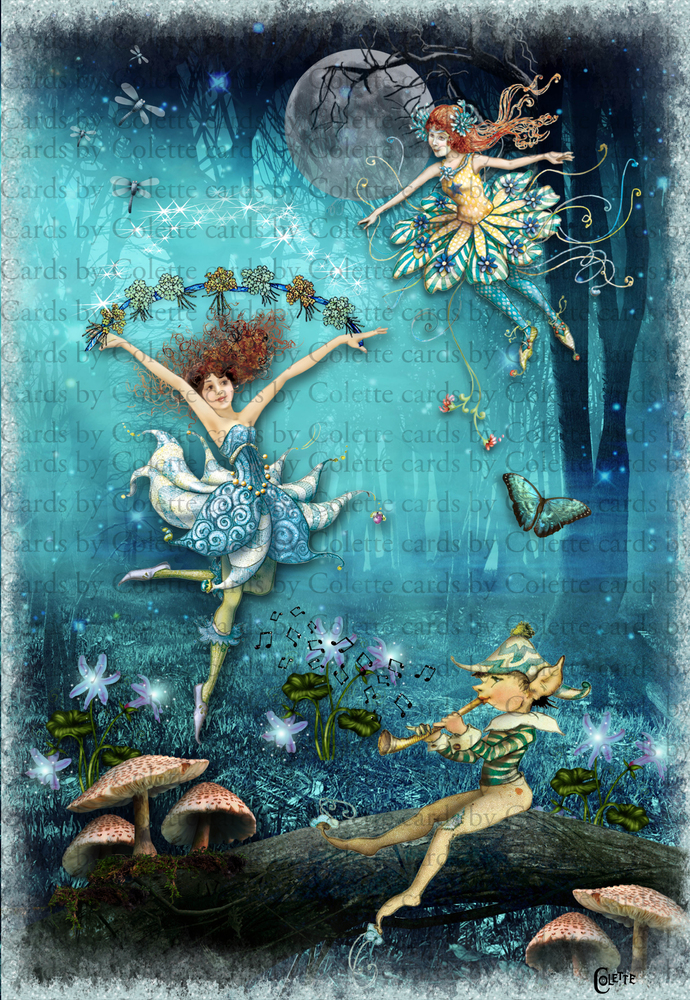 Fairies in the Blue Forest Digital Collage Greeting Card2242