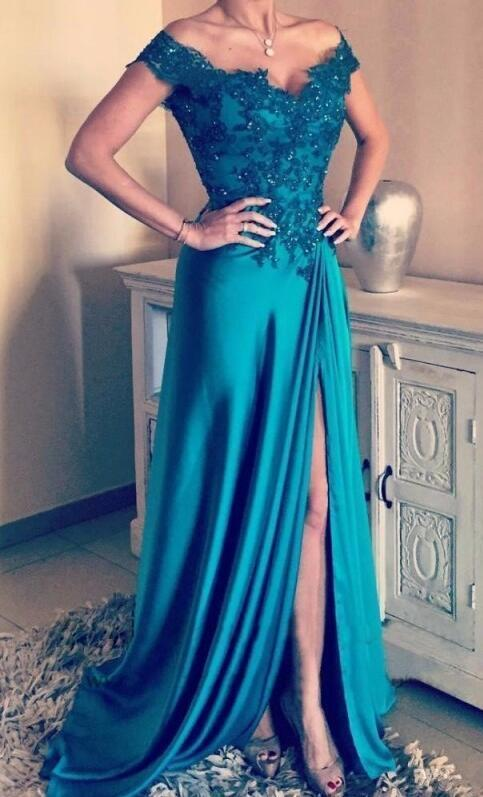 Handmade Off the Shoulder A Line Prom Dress, Elegant Appliques Prom Dress with