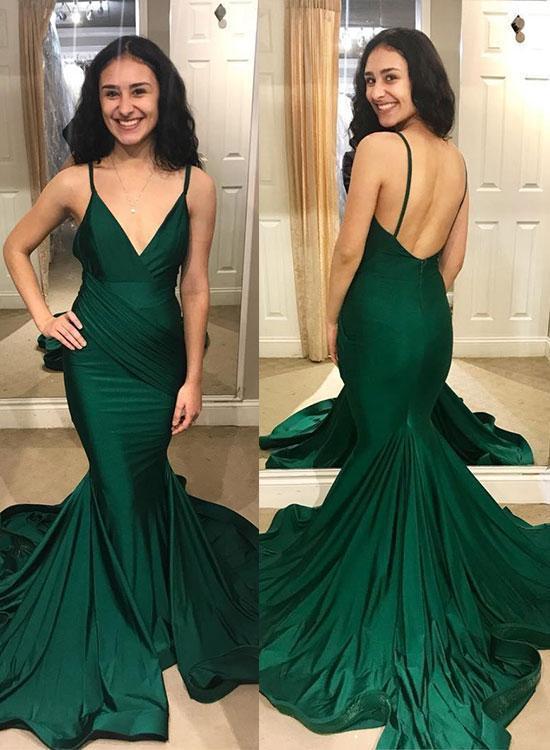 Charming Open Back Spaghetti Straps Mermaid Evening Dress, Long Prom Dress