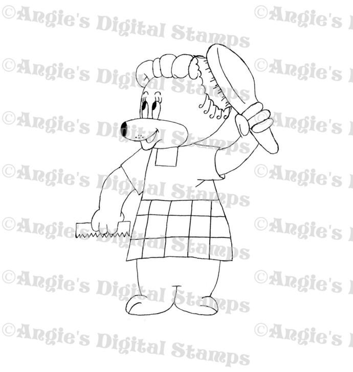 Bear Brushing Hair Digital Stamp