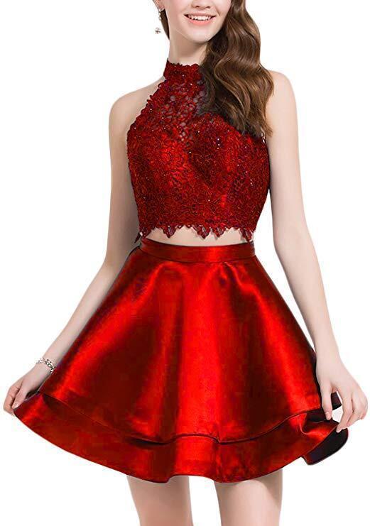 Handmade Appliques Halter Prom Dress, Elegant Prom Dress, Homecoming Dress ,