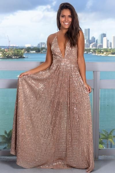 3af8b36df67 Mauve Sequin Maxi Dress with Criss Cross Back by Hiprom on Zibbet