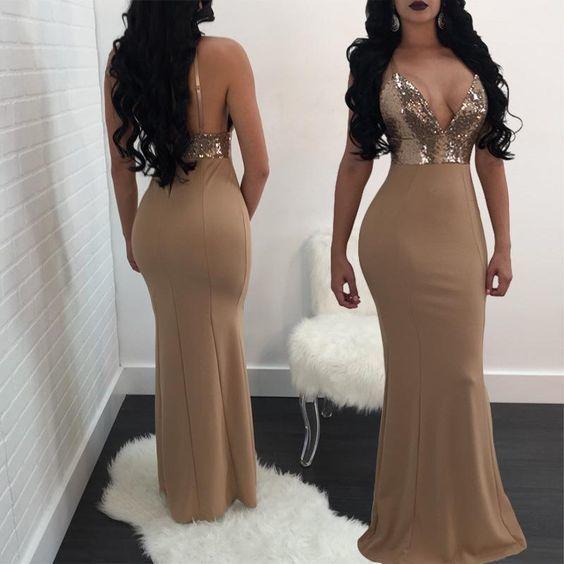 V Line Sequins Mermaid Maxi Dress Q4263