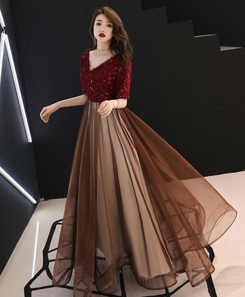 Burgundy sequin tulle long prom dress, burgundy evening dress  E5611