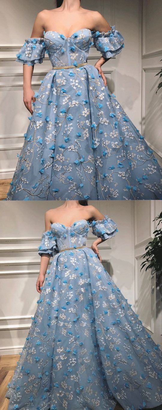 CHIC A-LINE OFF-THE-SHOULDER LONG PROM DRESSES LACE BLUE PROM DRESS LONG EVENING