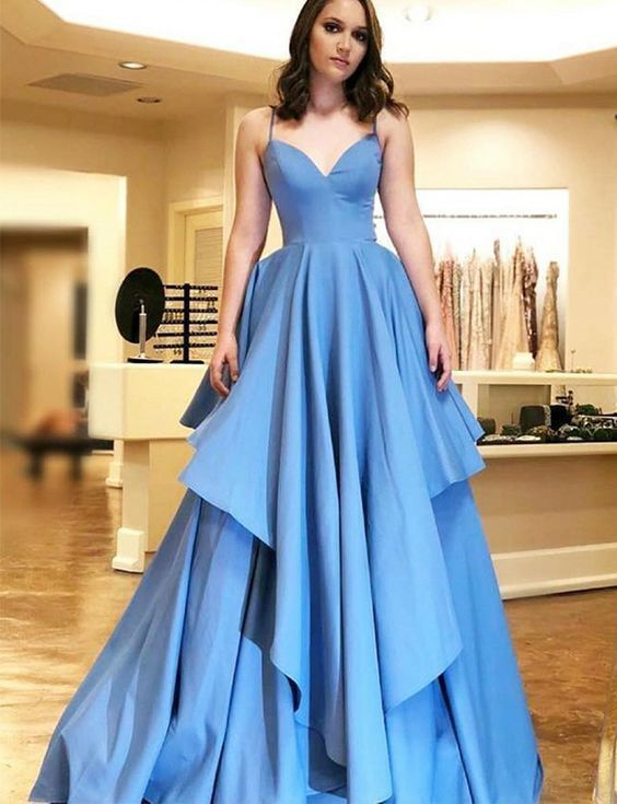 Blue Prom Dresses Satin Spaghetti Straps Long Evening Gowns For Women Q4262