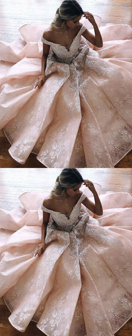 Unique Off Shoulder Tulle Lace Prom Gowns Long Prom Dress Luxurious Lace Evening