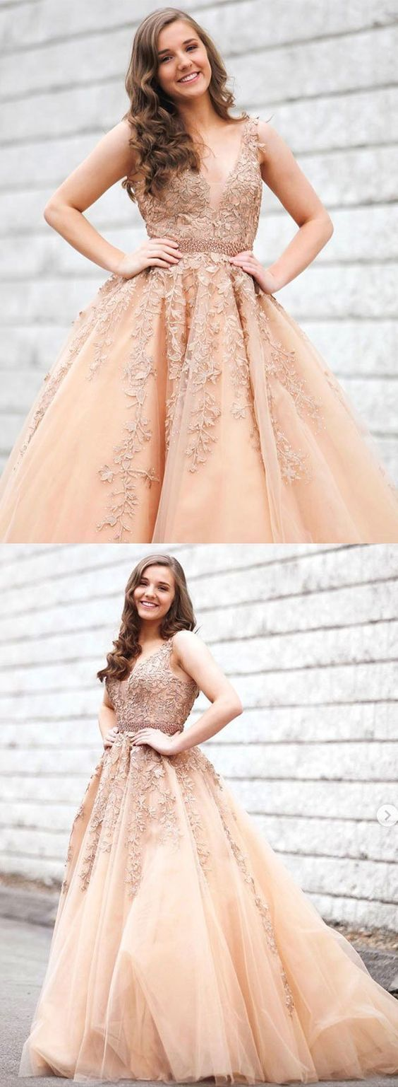Stylish v neck tulle lace long prom dress, evening dress  E5614