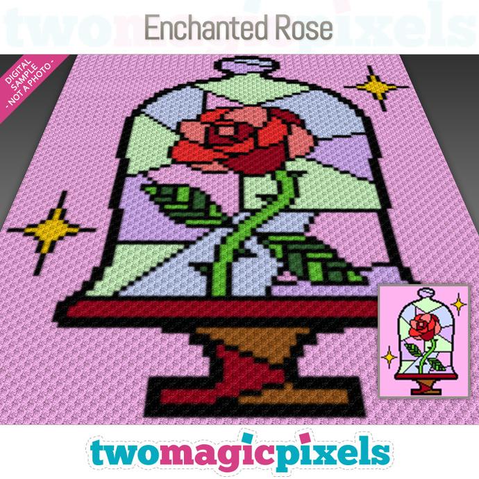 Enchanted Rose crochet graph (C2C, Mini C2C, SC, HDC, DC, TSS), cross stitch;