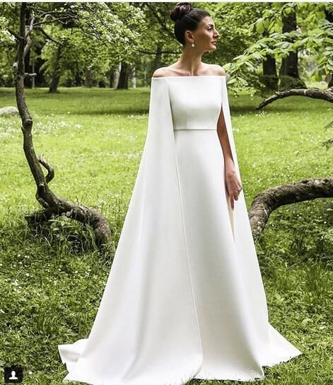 Simple A Line Satin Wedding Dresses Off thSouth African Gire Shoulder with Shawl