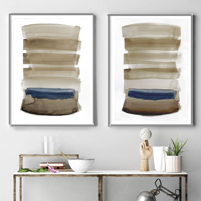 Original abstract painting, rustic home decor, abstract painting ,Diptych beige