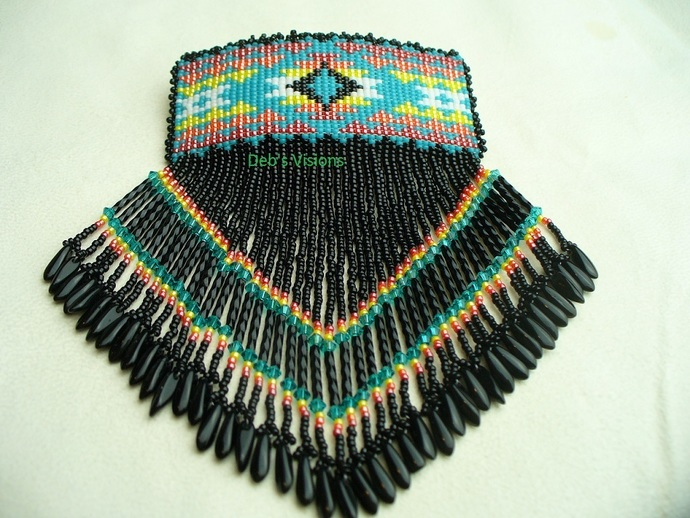 Native American Style Square Stitched Blanket design Barrette