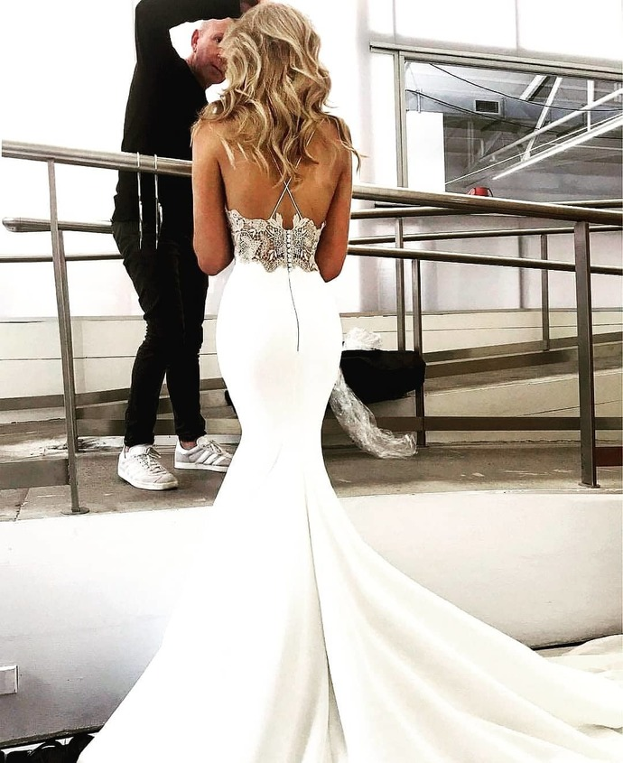 Charming Lace Sexy Backless Mermaid Jersey Prom Dresses G2258