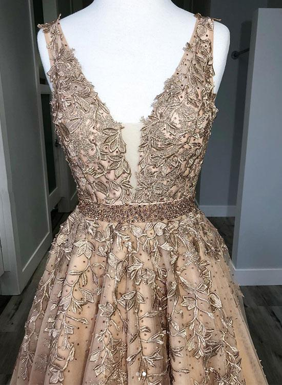 Champagne V neck A-Line Prom Dresses Tulle Evening Dress Long Lace Party Gowns