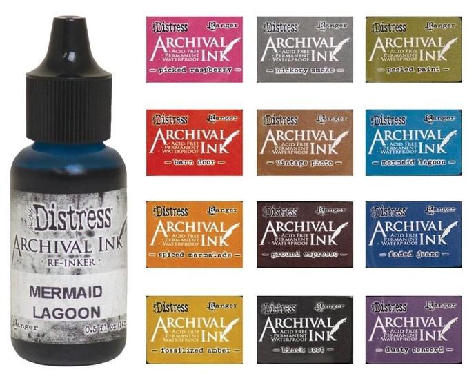 Tim Holtz DIstress ARCHIVAL Ink Reinkers 12 colors of REINKER BOTTLES