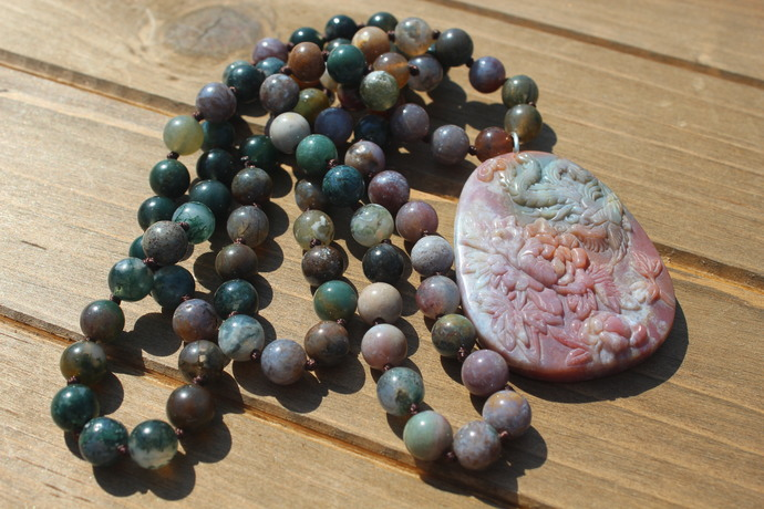 Indian Agate Long Beaded Necklace with Pendant Boho Glam by KnottedUp