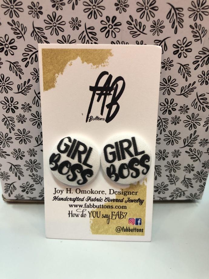 GIRL BOSS FABRIC COVERED EARRINGS